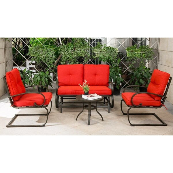 outdoor patio wrought iron chair pad unusual beds shop 4 piece furniture set brick red cushion