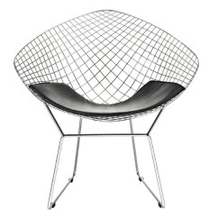 Chair Cba Steel Fuzzy Desk Shop Mid Century Modern Diamond Chromed Wire Frame Side Arm Chairs With Leatherette Pu Black