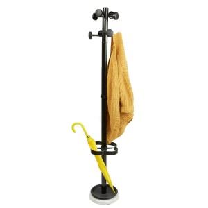 Mind Reader Freestanding Jacket, Hat, Coat Rack Hanger Umbrella Holder with 8 Hooks, Black