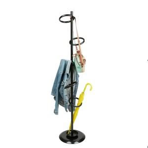 Mind Reader Freestanding Jacket, Hat, Coat Rack Hanger Umbrella Holder with 5 Hooks, Black