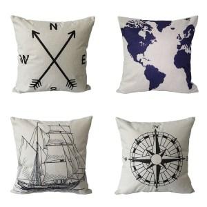 Cotton Linen Nautical Style Sofa Throw Pillow Case Cushion Cover