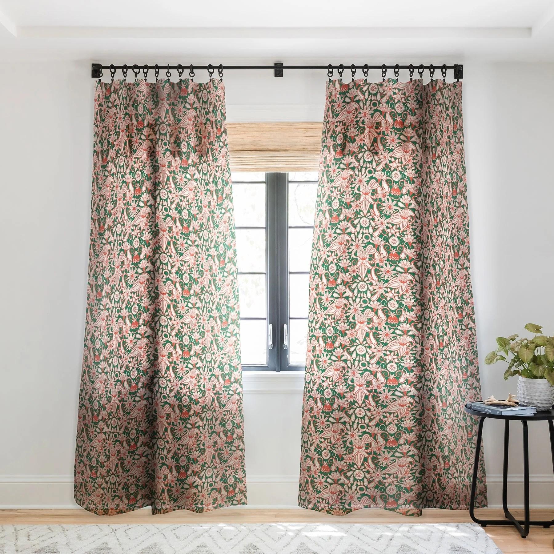sharon turner sarilmak green orange single panel sheer curtain 50 x 84