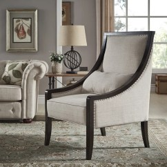Wood Frame Accent Chairs Tent Table And Chair Rentals Shop Francis Espresso Framed Beige Linen Sloped Arm By Inspire Q Classic