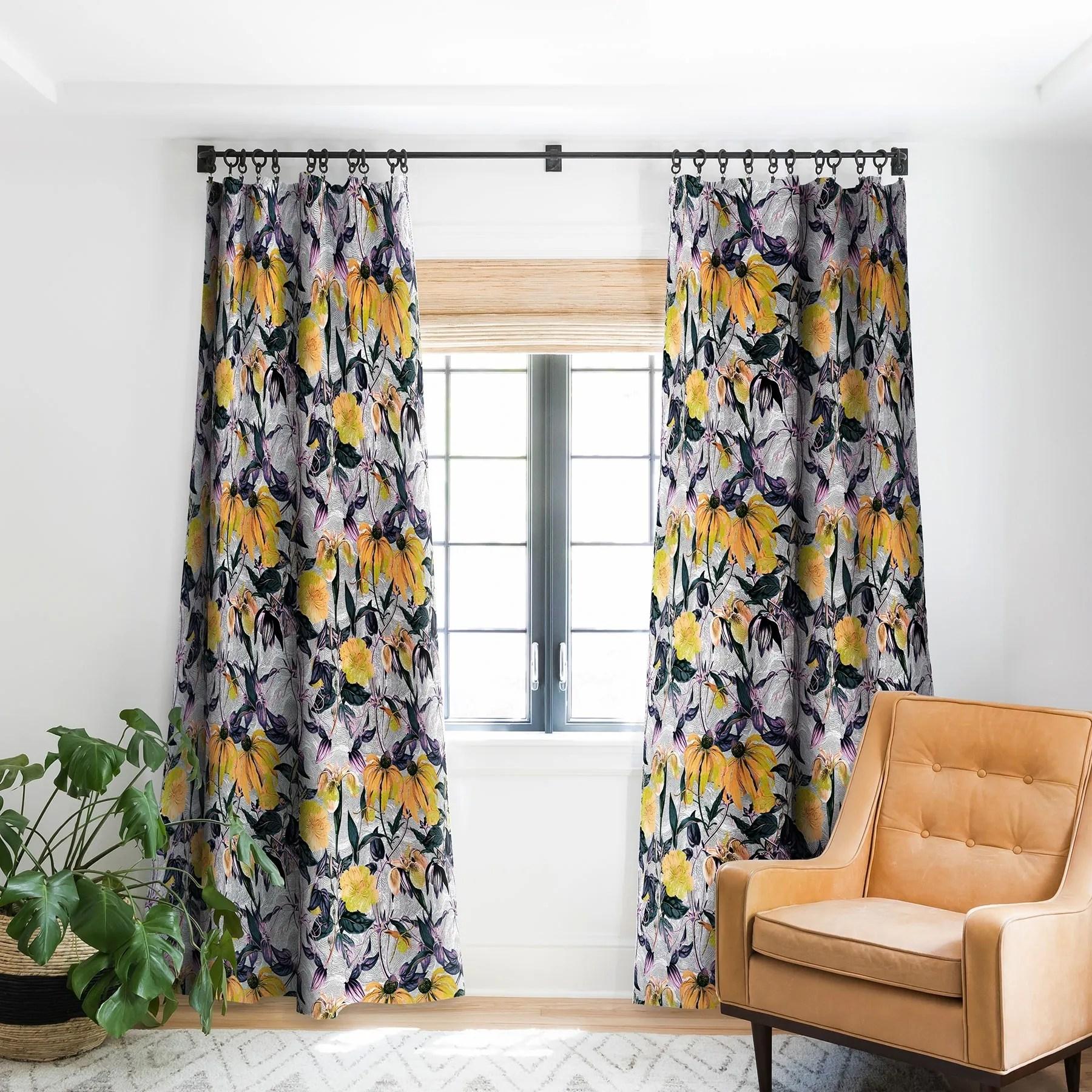 marta barragan camarasa abstract pattern of yellow blooms blackout curtain panel