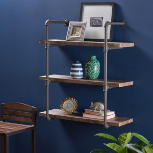 Staci Industrial Three Tier Faux Wood Wall-Mounted Shelf by Christopher Knight Home