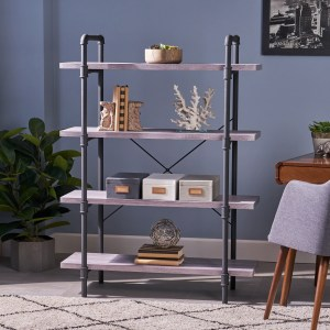 Oswald Faux Wood Industrial Four Tier Shelf by Christopher Knight Home