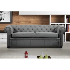 Chesterfield Style Fabric Sofa Howard Parlor Shop Modern Grey 3 Seat Avignon
