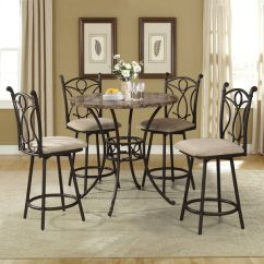 Dining Chairs At Marshalls Chair Next To Bed Shop Home Source Marshall 5 Piece Brown Metal Set With Faux Marble Counter Height Circle Table