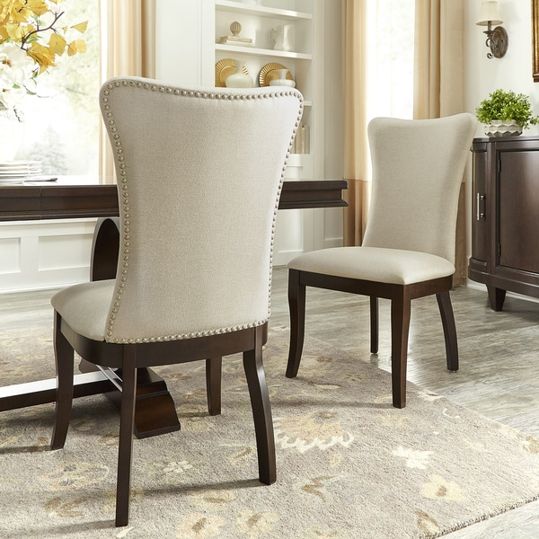 Wingback Dining Chair With Nailhead Trim  Dining room ideas