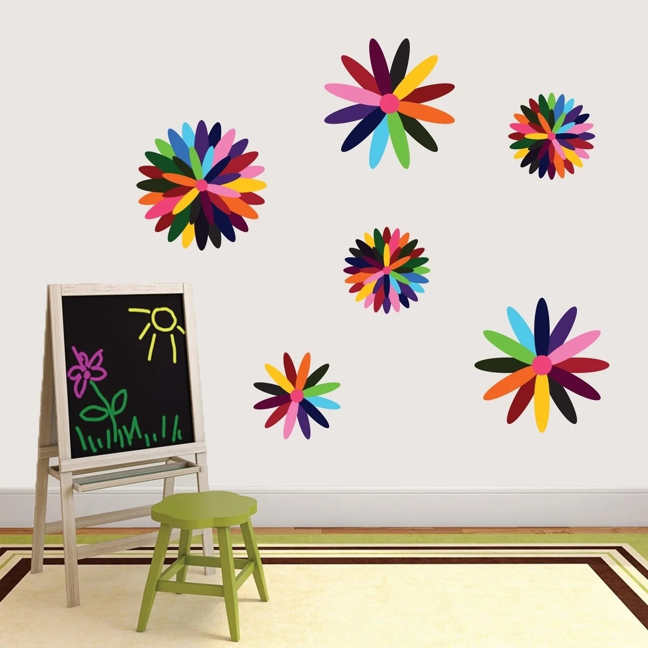Rainbow Flowers Printed Wall Decal Pack