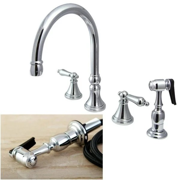 four hole kitchen faucets faucet aerator shop chrome 4 and sprayer silver free
