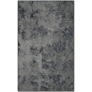 Brumlow Mills Vintage Damask, Distressed Gray and Blue Area Rug GRAY - 3'4 x 5'