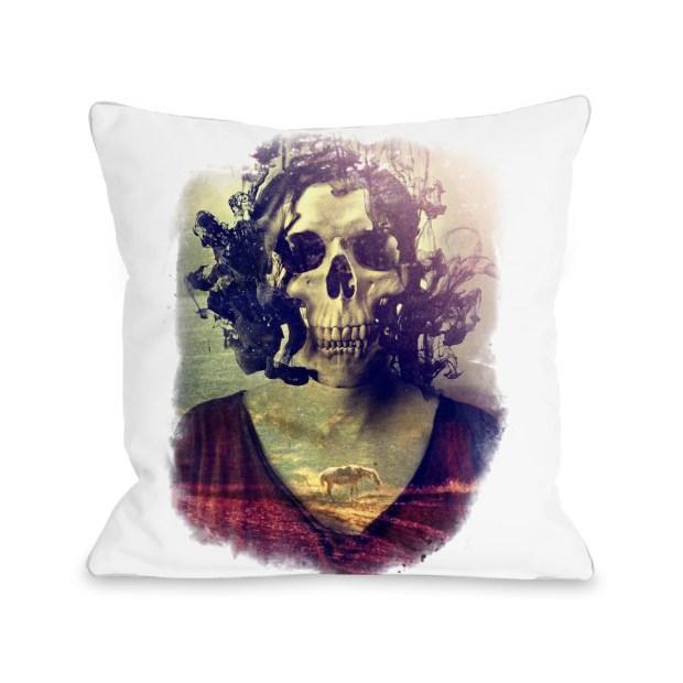 Miss Skull - Multi  Pillow by Ali Gulec