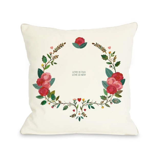 Love is Old Love is New - White Multi  Pillow by Ana Victoria Calderon
