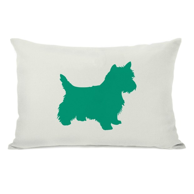 Westie Silhouette - Ivory Emerald 14x20 Pillow by OBC