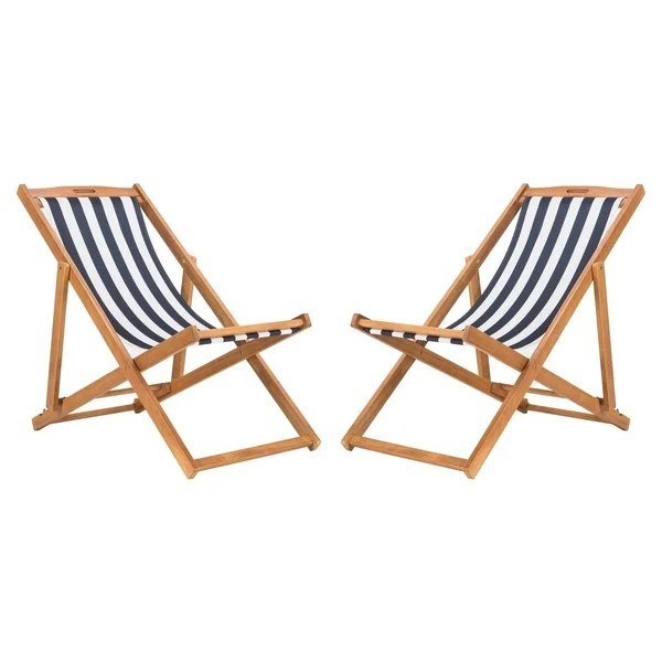sling chair outdoor personalized childrens rocking chairs shop safavieh living loren foldable navy white free shipping today overstock com 22286446