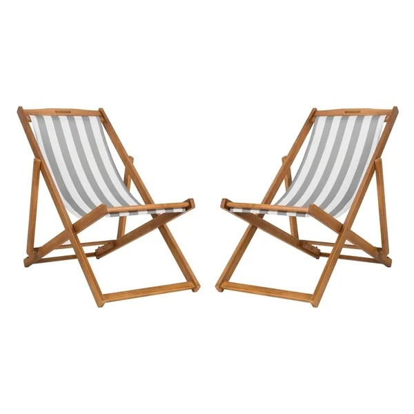 sling chairs for sale purple reading chair shop safavieh outdoor living loren foldable grey white on free shipping today overstock com 22286447
