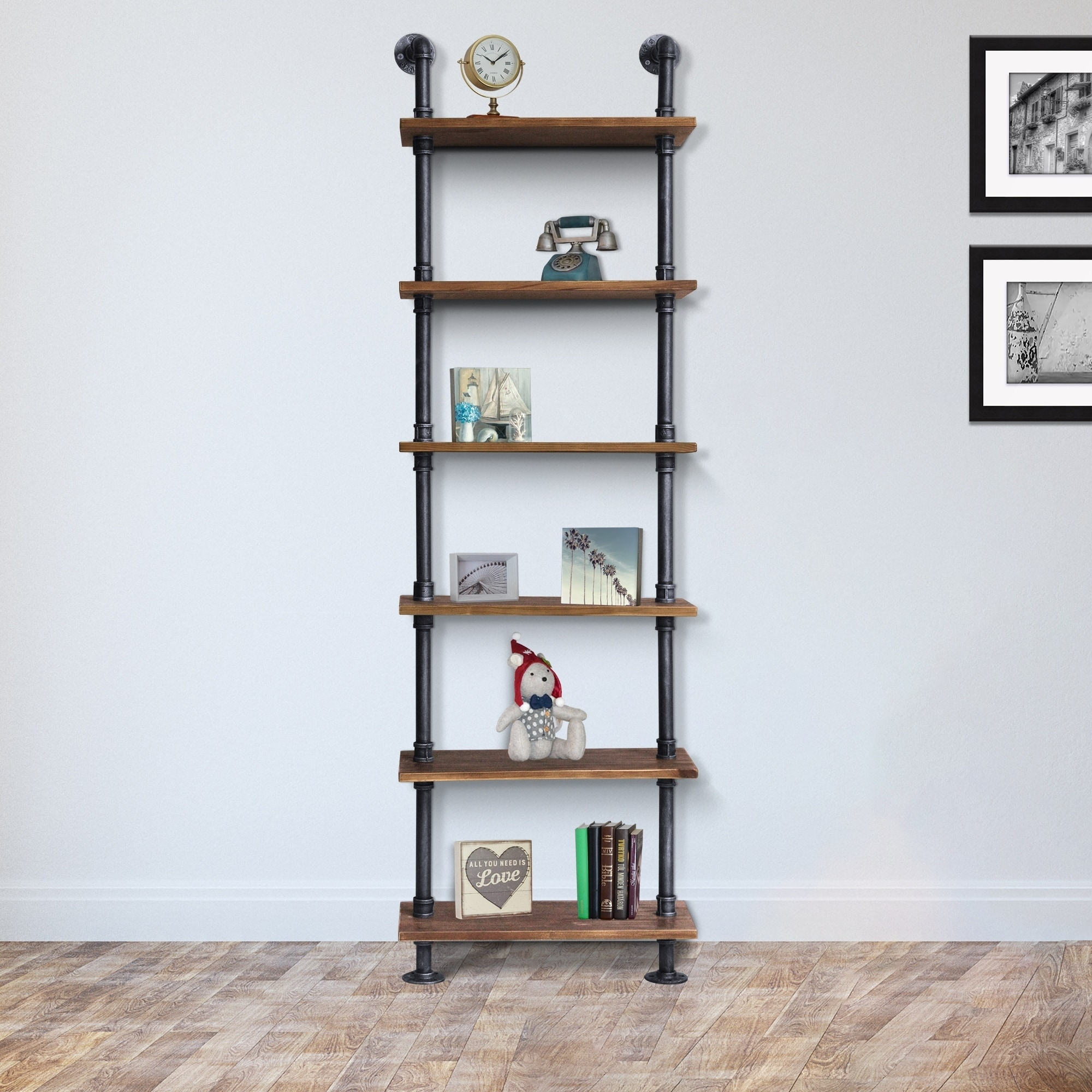 Shop Alta Walnut Wood Silvertone Brushed Grey Metal Pipe Industrial Floating Wall Book Shelf 23 6 X 9 8 Overstock 22300904