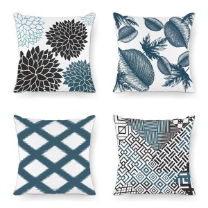 Minimalist Living Series Black Blue Color Decorative Throw Pillow Case