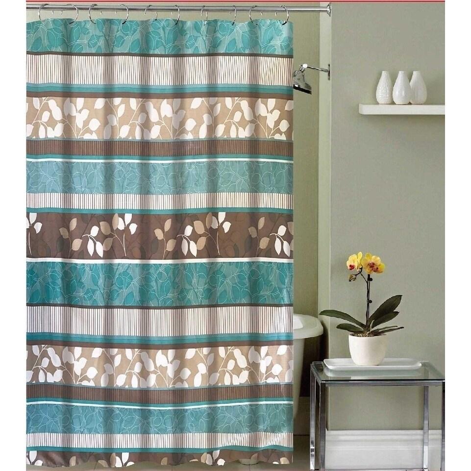 aqua blue fabric shower curtain