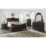 Saillans Cherry Finish Solid Wood Construction Bedroom Set With Bed Dresser And Mirror Nightstand Chest