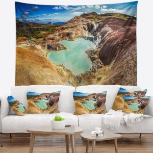 Designart 'Blue Pond in Volcano Area Iceland' Landscape Wall Tapestry