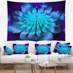 Designart 'Fractal Blue Spread out Flower' Floral Wall Tapestry