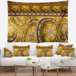Designart 'Golden Extraterrestrial Life Cells' Floral Wall Tapestry