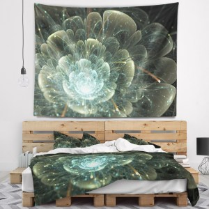 Designart 'Fractal Flower Blue and Gray' Floral Wall Tapestry