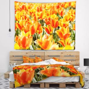Designart 'Fresh Tulip Flowers on Sunny Day' Floral Wall Tapestry