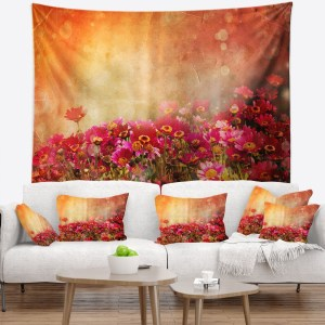 Designart 'Spring Little Flowers at Sunset' Floral Wall Tapestry