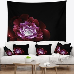 Designart 'Purple Abstract Fractal Flower' Floral Wall Tapestry