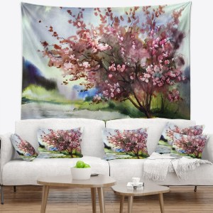 Designart 'Tree with Spring Flowers' Floral Wall Tapestry