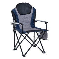 Padded Camping Chair Twin Bed Shop Outsunny Aluminum Outdoor Folding With Side Storage Pocket Navy Blue