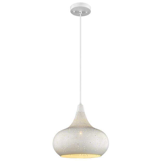 Carlson 1-Light White Iron LED Pendant with Pierced Metal Shade