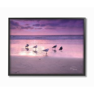 The Stupell Home Decor Collection Seagulls on Purple Sunset Beach, Framed Giclee, 16 x 1.5 x 20, Made in USA - Multi-color