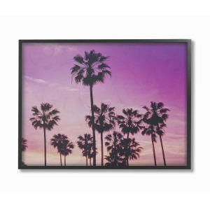 The Stupell Home Decor Collection Tropical Purple Palm trees Photography, Framed Giclee, 11 x 1.5 x 14, Made in USA
