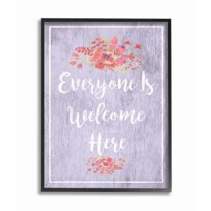 The Stupell Home Decor Collection Everyone Is Welcome Here Purple Floral, Framed Giclee, 16 x 1.5 x 20, Made in USA