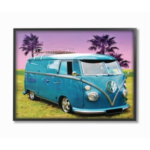 The Stupell Home Decor Collection Vintage 70s Blue VW Bus with Purple Palm Trees, Framed Giclee, 11 x 1.5 x 14, Made in USA