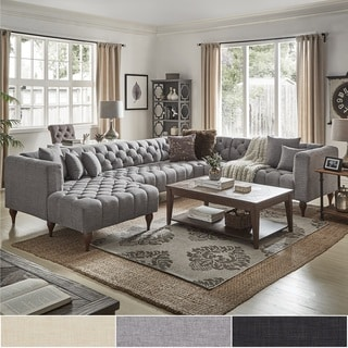 sectional sofa u shaped couch slipcovers buy shape sofas online at overstock com our best danise tufted linen upholstered tuxedo arm with chaise by inspire q artisan