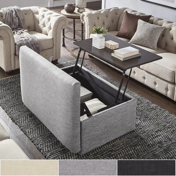 ottoman coffee tables living room shelf decorating ideas shop landen lift top upholstered storage table by inspire q artisan