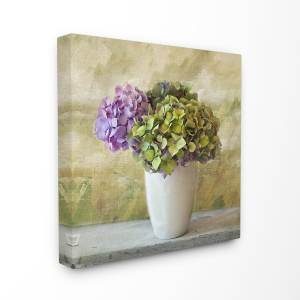 The Stupell Home Decor Collection Floral Textural Purple Hydrangea, Canvas, 17 x 1.5 x 17, Made in USA - Multi-color