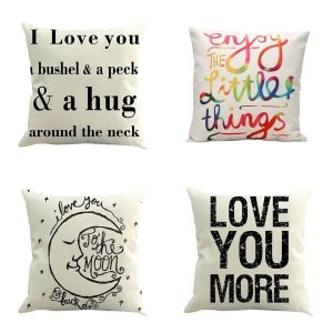 Home Decor Letters Pattern Sofa Throw Pillow Case