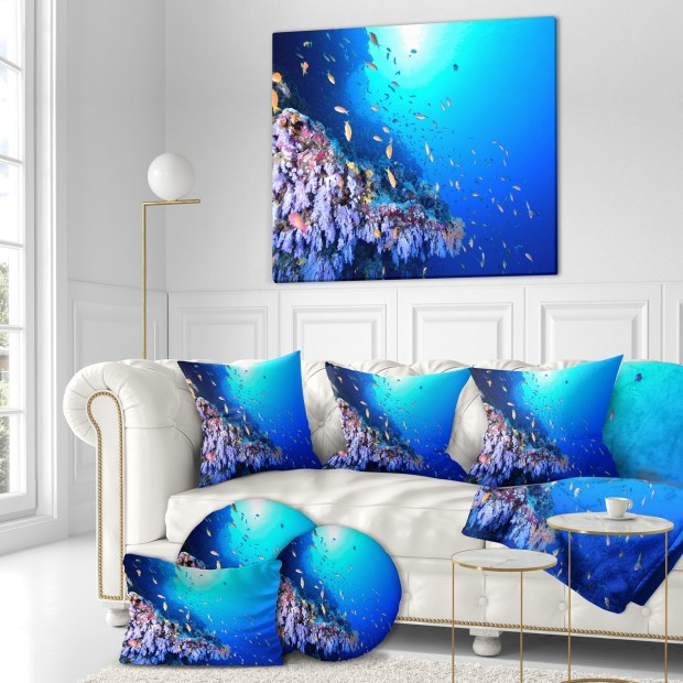 Designart 'Coral Reef With Different fish Swimming' Sea & Shore Nautical Photographic on wrapped Canvas
