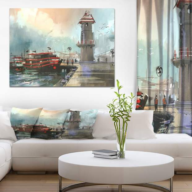 Designart 'Fishing boat in harbor' Cityscapes Painting Print on Wrapped Canvas - Blue