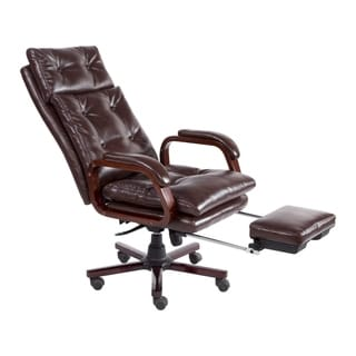 wood office chair old wooden chairs shop homcom high back pu leather executive reclining home with retractable footrest free shipping today overstock com 22404702