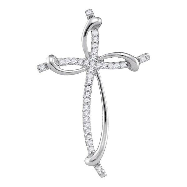 Shop 10kt White Gold Womens Round Diamond Slender Curved