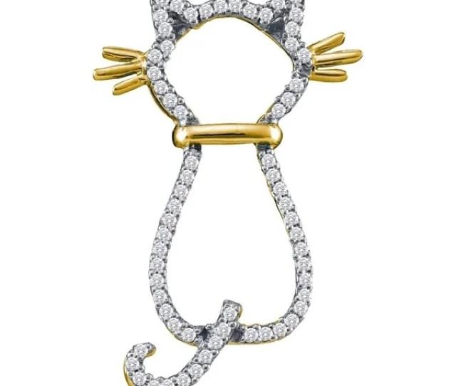 Kt Yellow Gold Womens Round Diamond Kitty Cat Feline Animal Pendant   Cttw
