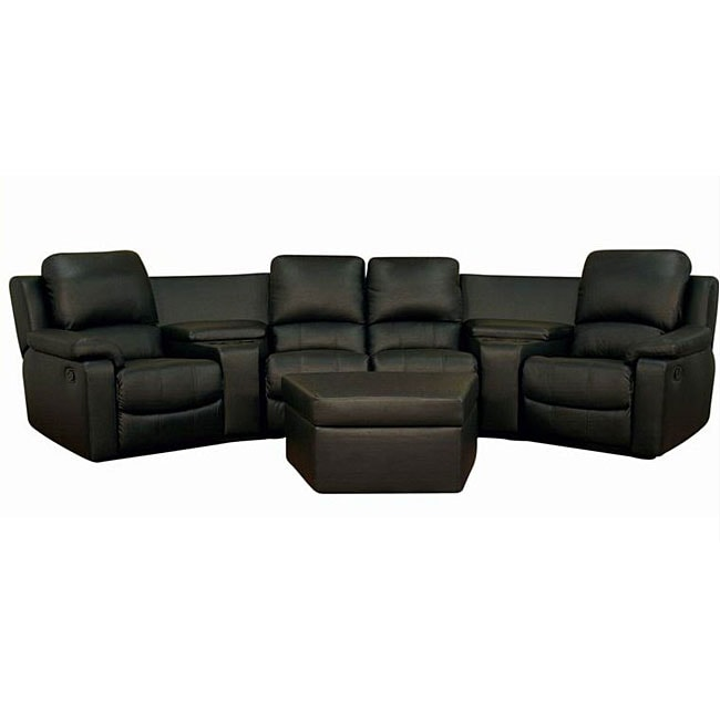 abbyson leather sofa reviews living room idea black 7-piece recliner sectional seating w ...