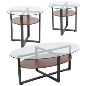 Lancaster Home Princeton Collection 3-Piece Glass Table Set with Oak Wood Finish Laminate Shelf and Black Metal Legs